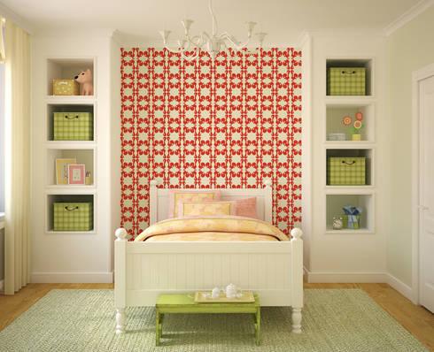 Galo Vermelho: Parede e piso  por OH Wallpaper