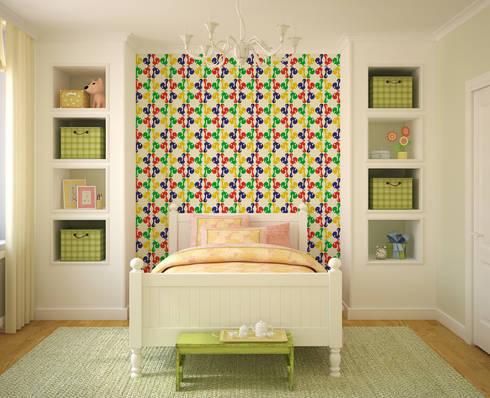 Galo Colorido: Parede e piso  por OH Wallpaper