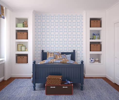 Galo Azul Claro: Parede e piso  por OH Wallpaper