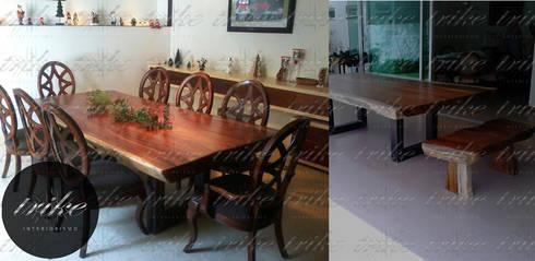 Tablon mesa Parota: Comedor de estilo  por Trike Interiorismo