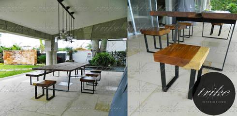Mesa y bancas de madera: Comedor de estilo  por Trike Interiorismo