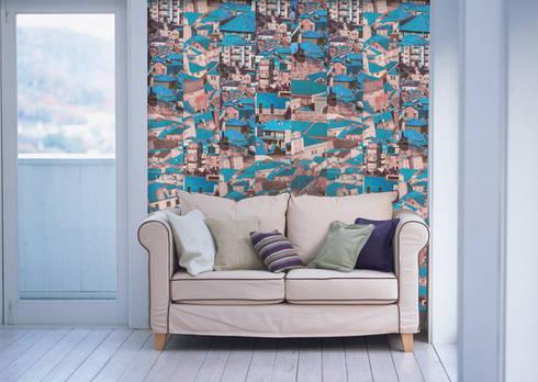 Riscas Portuguesas Azul: Parede e piso  por OH Wallpaper