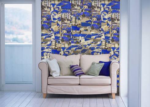 Riscas Portuguesas Azul Lápis Lazuli: Parede e piso  por OH Wallpaper