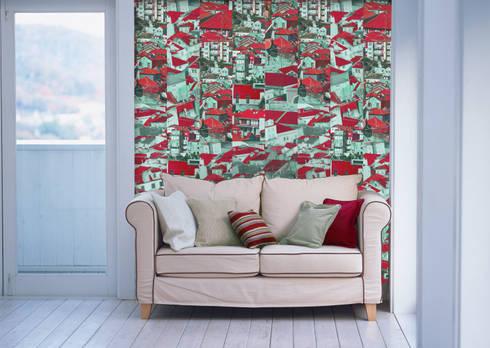 Riscas Portuguesas Rosa Rubi: Parede e piso  por OH Wallpaper