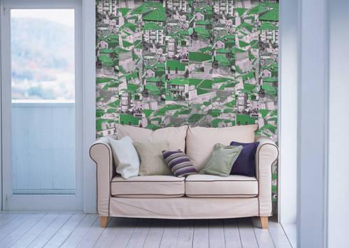 Riscas Portuguesas Verde: Parede e piso  por OH Wallpaper