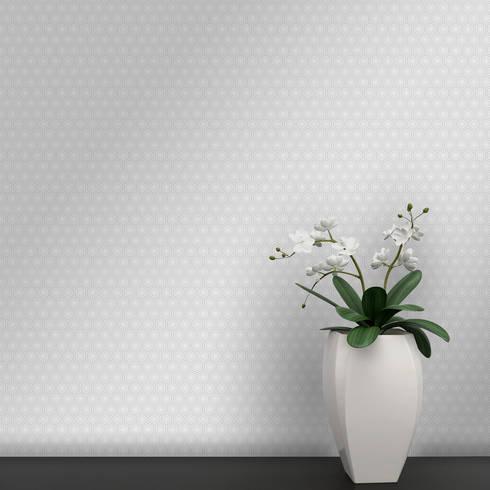 Hexágono Coordenado Bege e Cinzento: Parede e piso  por OH Wallpaper