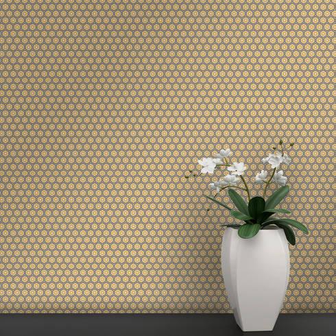 Hexágono Coordenado Castanho, Laranja e Amarelo: Parede e piso  por OH Wallpaper