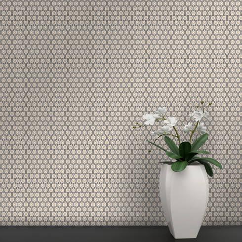 Hexágono Coordenado Cinzento e Caramelo: Parede e piso  por OH Wallpaper