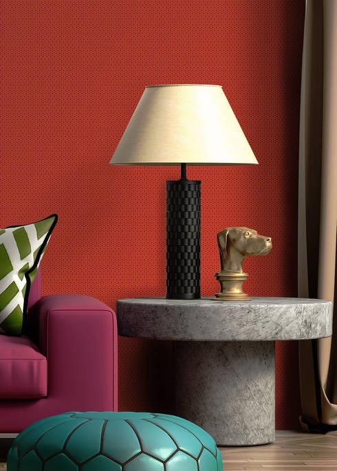 Toile Base Rosa e Laranja: Parede e piso  por OH Wallpaper