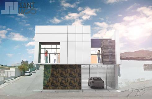 Fachada Sur: Casas de estilo minimalista por SANT1AGO arquitectura y diseño
