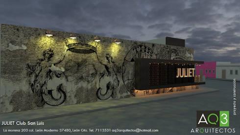 JULIET Club San Luis: Bares y discotecas de estilo  por AQ3 Arquitectos