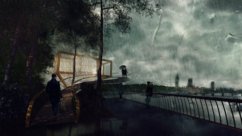 Treehouse Competition 2015 – Integrantes: Carlos Ugarte – Nadim Becerra – Mario Castillo – José Burgos:  de estilo  por NB Render Arquitectura