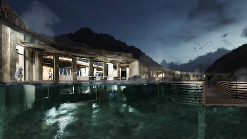 """Proyecto de Título Nadim Becerra / """"Termas Lodge Valle de Colina"""":  de estilo  por NB Render Arquitectura"""