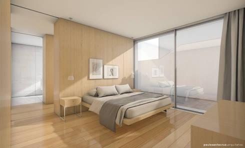 Bela Houses: Quartos minimalistas por paulosantacruz.arquitetos