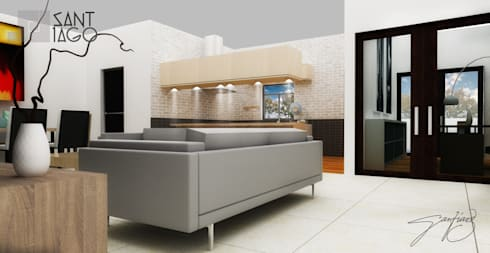 J-Gles: Salas de estilo minimalista por SANT1AGO arquitectura y diseño