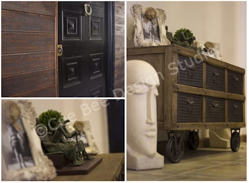 2 BHK Apartment in Kolkata:  Corridor, hallway & stairs  by Cee Bee Design Studio