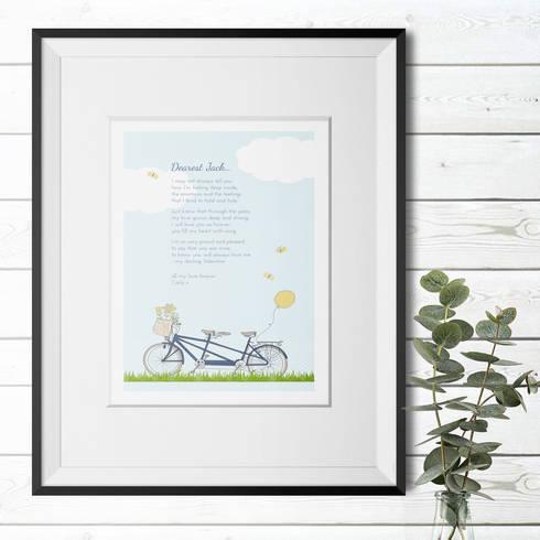 Personalised Love Poem Print - 'Bicycle Built for Two':  Artwork by PhotoFairytales