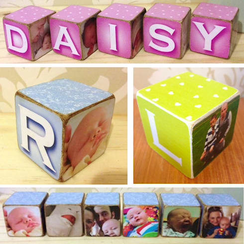 Personalised Wooden Photo Blocks - colour: country Nursery/kid's room by PhotoFairytales