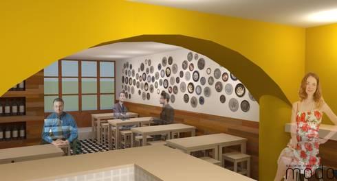 Remodelação de tasca em Abrantes: Bares e clubes  por Modo Arquitectos Associados