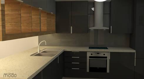 Remodelação de apartamento no CH de Abrantes: Cozinhas modernas por Modo Arquitectos Associados