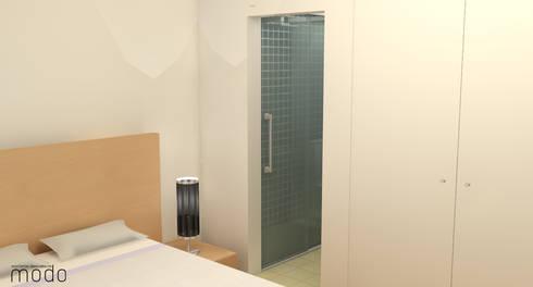 Remodelação de apartamento no CH de Abrantes: Quartos modernos por Modo Arquitectos Associados