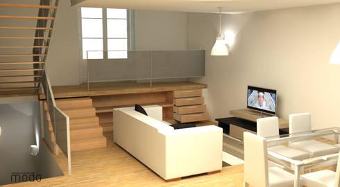 Remodelação de apartamento no CH de Abrantes: Salas de estar modernas por Modo Arquitectos Associados
