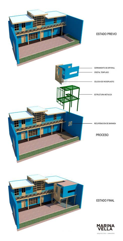 Casa Azul:  de estilo  por Marina Vella Arquitectura