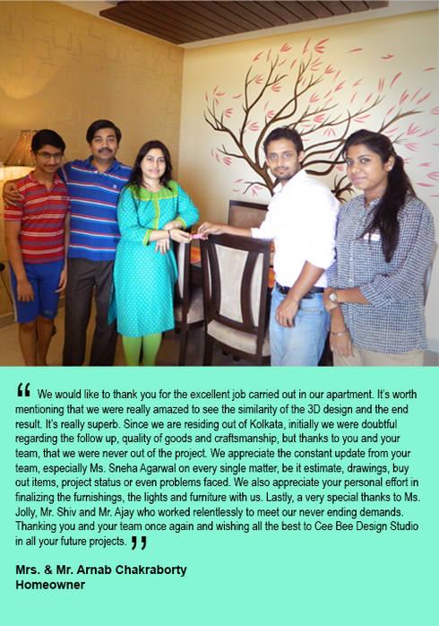 3 BHK Apartment in Bengaluru: modern Living room by Cee Bee Design Studio