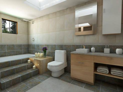 Baño principal: Baños de estilo  por Arqternativa