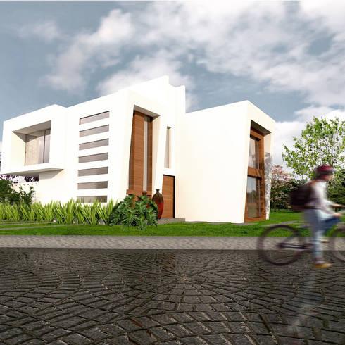 Vista desde la calle: Casas de estilo moderno por Arqternativa