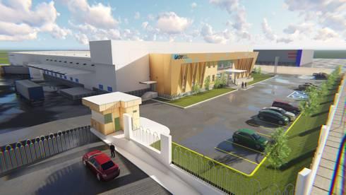Seemann SA. de CV. Fachada: Casas de estilo industrial por FyA Arquitectos