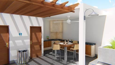 Palapa Bar; Casa Sr. Ruben: Comedores de estilo moderno por FyA Arquitectos