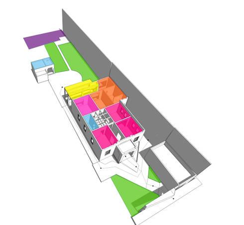 Esquema de usos y flujos:  de estilo  por CUBO ROJO Arquitectura