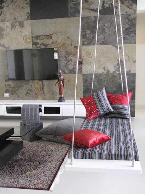 Intriguing Ikats: asian Living room by TUNI Interiors Pvt. Ltd.