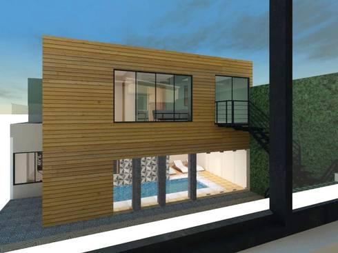 Zona fitness y estudio: Casas de estilo moderno por Ingenieros y Arquitectos Continentes