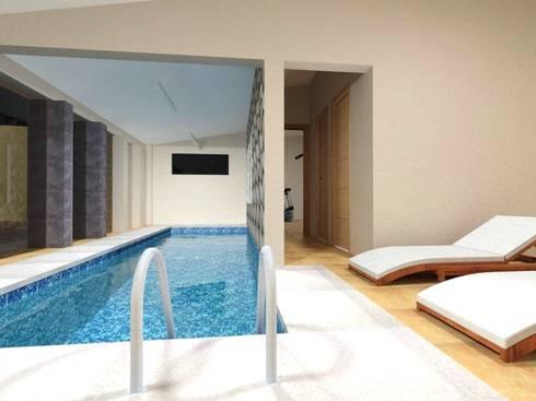 Zona fitness (piscina) Planta Baja: Albercas de estilo moderno por Ingenieros y Arquitectos Continentes