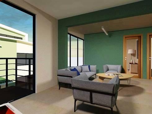 Zona estudio (Lounge) Planta alta: Estudios y oficinas de estilo moderno por Ingenieros y Arquitectos Continentes