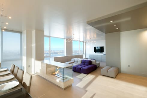 Luxury Apartment Combination: minimalistic Living room by Andrew Mikhael Architect