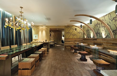 Sala de Chá: Espaços gastronômicos  por MMMundim Arquitetura e Interiores