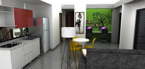 estudio, sala y comedor:  de estilo  por Elizabeth SJ
