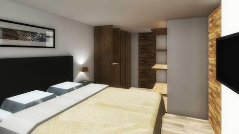 Interior: Recámaras de estilo moderno por PABELLON de Arquitectura