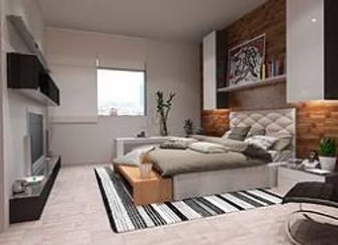 Recámara secundaria : Recámaras de estilo minimalista por ArtiA desarrollo, arquitectura y mobiliario.