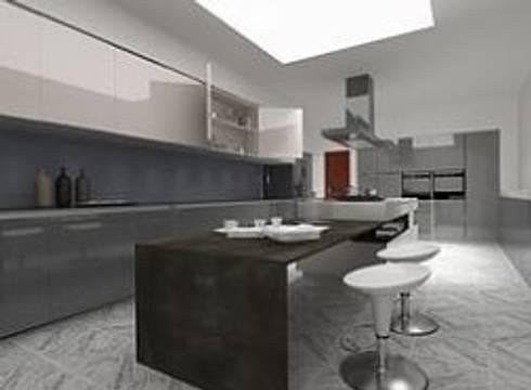 Cocina con barra metálica.: Cocinas de estilo industrial por ArtiA desarrollo, arquitectura y mobiliario.