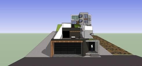 Vista desde la calle: Casas de estilo minimalista por MARATEA Estudio