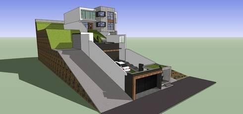 Vista externa: Casas de estilo minimalista por MARATEA Estudio
