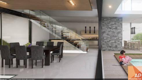 Comedor-escalera-cocina: Comedores de estilo moderno por AParquitectos