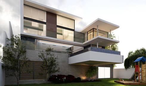 Fachada interior con Alberca volada: Casas de estilo moderno por AParquitectos