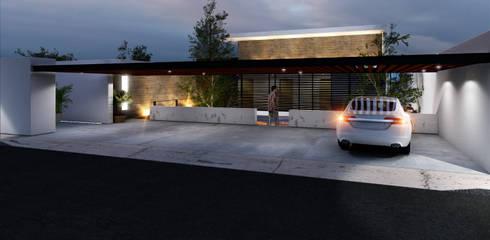 Fachada exterior ilumniada: Casas de estilo moderno por AParquitectos