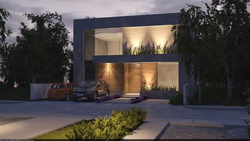 Fachada iluminada: Casas de estilo moderno por AParquitectos