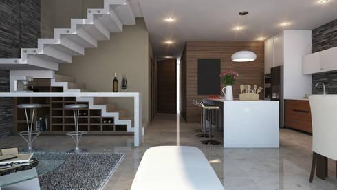 Cava debajo de escalera: Cavas de estilo moderno por AParquitectos
